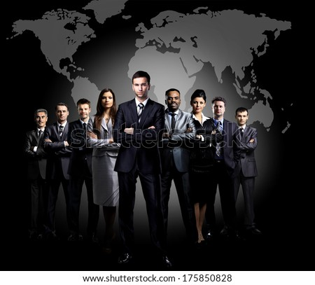 Full-length portrait of group of business people - stock photo