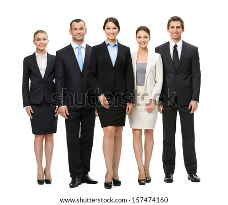 Full-length portrait of group of business people, isolated. Concept of teamwork and cooperation - stock photo