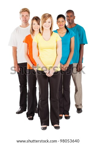full length portrait of group of diverse people - stock photo