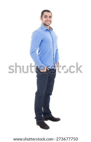full length portrait of handsome arabic business man in blue shirt isolated on white background - stock photo