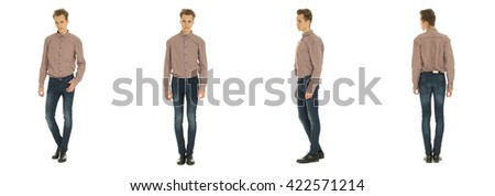 Full length portrait of handsome boy in jeans isolated