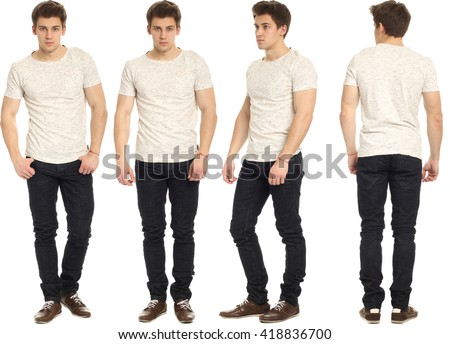 Full length portrait of handsome man in jeans - stock photo