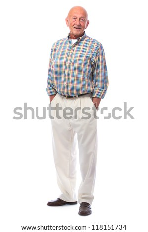 Full length portrait of handsome senior man standing - stock photo