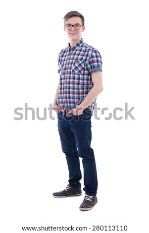 full length portrait of handsome teenage boy isolated on white background