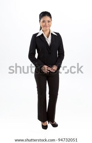 Full length portrait of happy Asian business woman