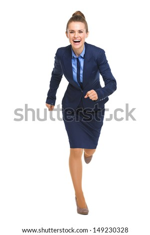 Full length portrait of happy business woman running straight - stock photo