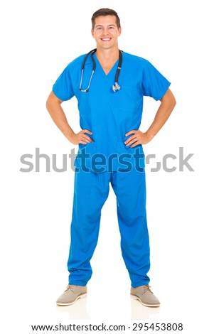 full length portrait of happy doctor standing on white background - stock photo