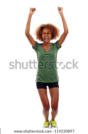 Full length portrait of happy excited black girl jumping with arms extended isolated over white background