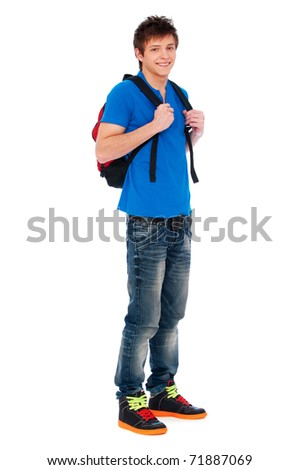 full-length portrait of happy guy with knapsack - stock photo