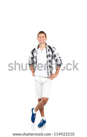 Full length portrait of happy smile handsome young man, fashion style casual wear shorts isolated on white background - stock photo