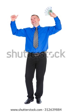 Full length portrait of happy, smile, successful, lucky businessman in shirt and tie holding money euros banknotes with hands up. Isolated white background. Positive emotion
