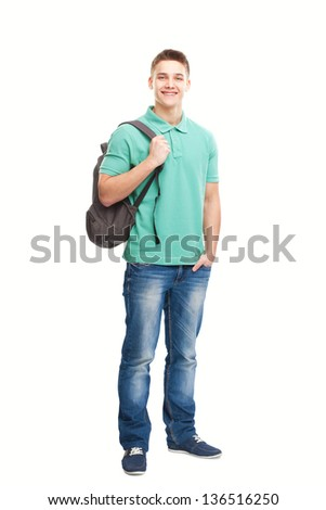 Full length portrait of happy smiling student with backpack isolated on white background