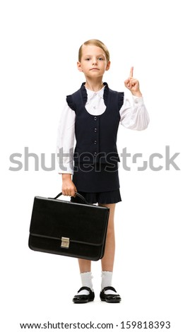 Full-length portrait of little businesswoman handing case and attention gesturing, isolated on white. Concept of leadership and success