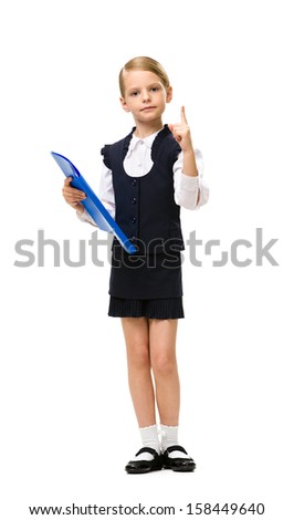 Full-length portrait of little businesswoman with folder attention gesturing, isolated on white. Concept of leadership and success