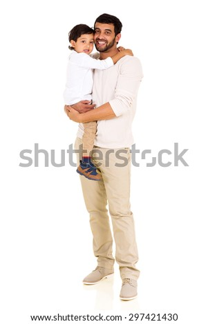 full length portrait of lovely indian father and son on white background - stock photo