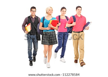 Full length portrait of male and female students isolated on white background