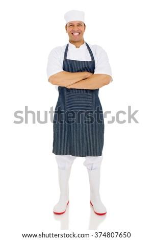 full length portrait of male butcher posing on white - stock photo