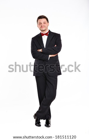 Full length portrait of man in full suit. Isolated over white background - stock photo