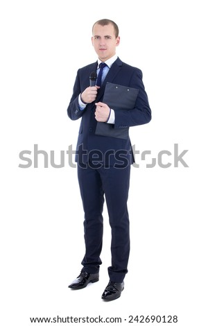 full length portrait of man reporter in suit with microphone and clipboard isolated on white background - stock photo