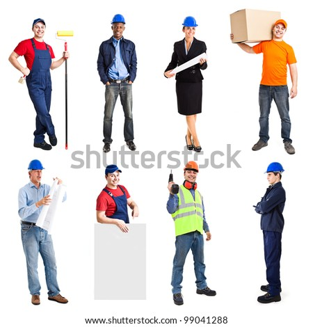 Full length portrait of many workers