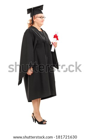 Full length portrait of mature female student holding a diploma isolated on white background - stock photo