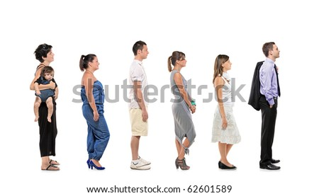 Full length portrait of men and women with baby standing together in a line isolated against white background