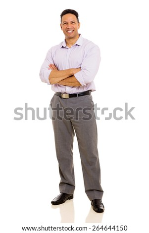 full length portrait of mid age man with arms crossed - stock photo