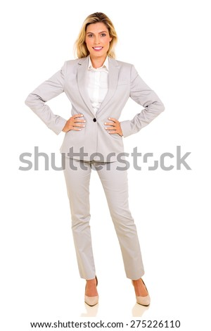full length portrait of modern businesswoman isolated on white - stock photo