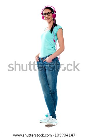 Full length portrait of musical girl isolated against white background