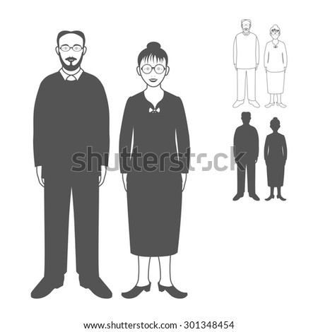 Full length portrait of nice adult woman standing with handsome senior man. Family.Realistic image.Full body woman and man isolated on white background. - stock photo