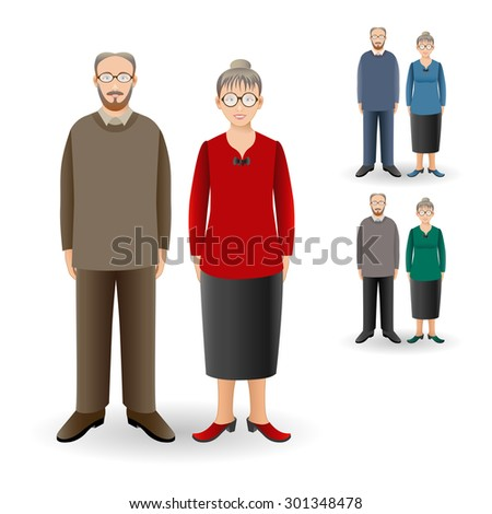 Full length portrait of nice adult woman standing with handsome senior man. Family. Realistic image. Full body woman and man isolated on white background. - stock photo