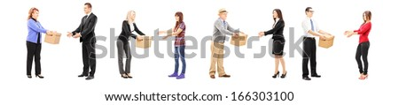 Full length portrait of people collaborating each other, isolated on white background - stock photo