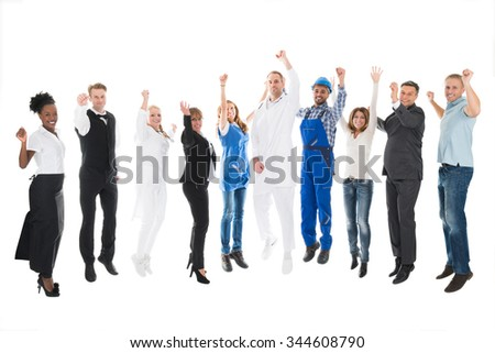 Full length portrait of people with various occupations cheering against white background - stock photo