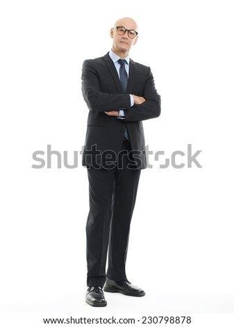 Full length portrait of senior financial advisor standing against white background.  - stock photo