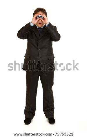 Full length portrait of shocked businessman looking through binoculars isolated on white