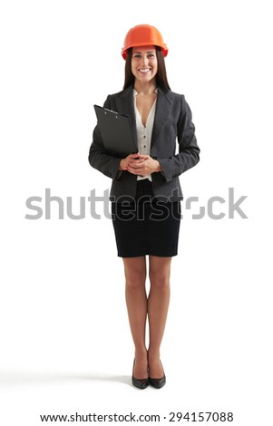 full length  portrait of smiley businesswoman in orange hardhat holding black folder and looking at camera. isolated on white background - stock photo