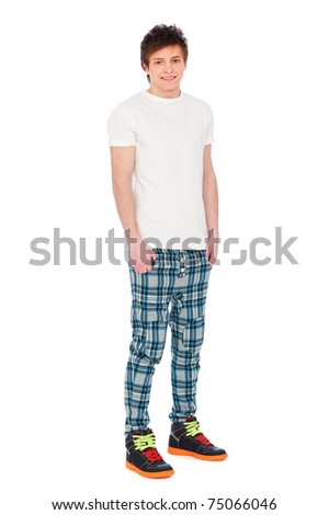 full-length portrait of smiley guy over white background - stock photo