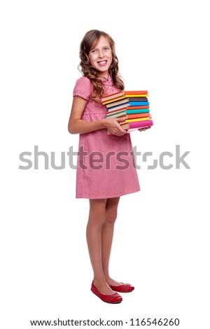 full length portrait of smiley little girl with books. isolated on white background - stock photo