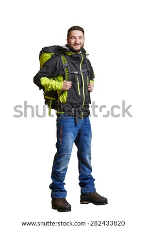 full-length portrait of smiley traveller with backpacker. isolated on white background - stock photo