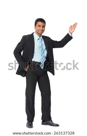 Full-length portrait of smiling Indian businessman - stock photo