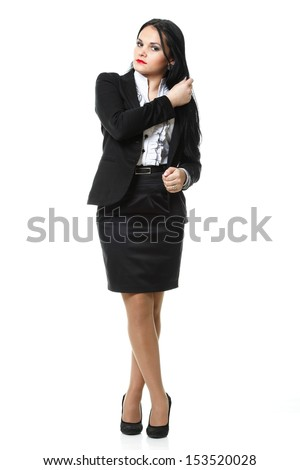 Full length portrait of smiling modern business woman - stock photo