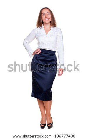 full length portrait of successful businesswoman. isolated on white background