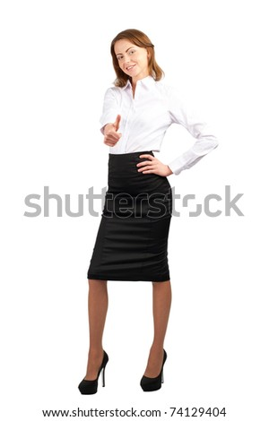Full length portrait of successful young businesswoman showing thumbs up, isolated on white background