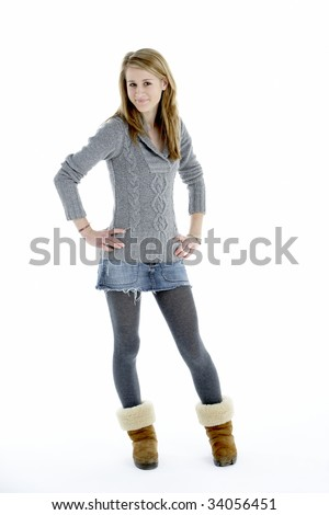 Full Length Portrait Of Teenage Girl