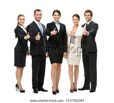 Full-length portrait of thumbing up group of business people, isolated on white. Concept of teamwork and cooperation - stock photo
