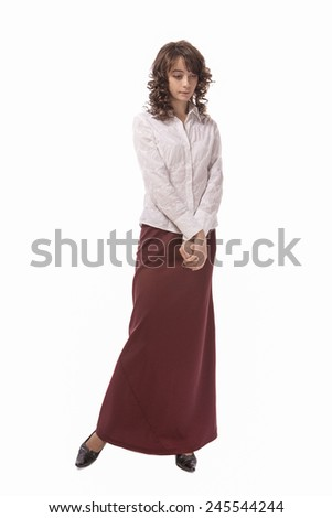 Full Length Portrait of Young and Slim Caucasian Female Isolated Over White Background. Vertical Image Composition - stock photo