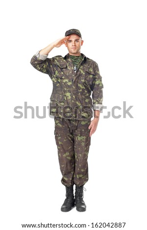 Full length portrait of young army soldier saluting isolated on white background