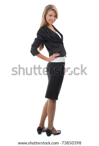 Full length portrait of young attractive businesswoman smiling, isolated on white background