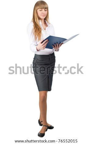 Full length portrait of young attractive businesswoman with blue folder in her hands, isolated on white background