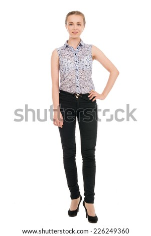 Full length portrait of young businesswoman isolated on white background. - stock photo